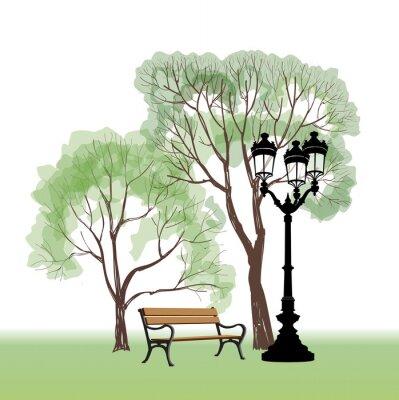 Naklejka Ława i latarni w parku. Clity liandscape z drzew letnim ogrodzie