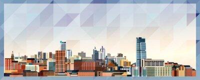 Naklejka Leeds skyline vector colorful poster on beautiful triangular texture background