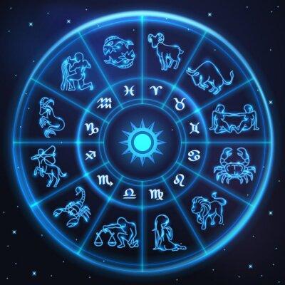 Naklejka Lekkie i symbole zodiaku horoskop koło, astrologia