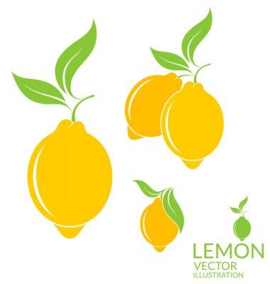 Naklejka Lemon. Pojedynczo owoce na białym tle