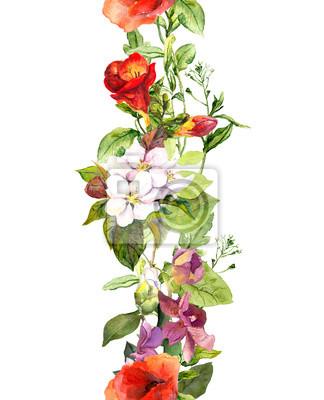 Letnia łąka kwiaty i motyle. Powtarzanie ramkę. Akwarela
