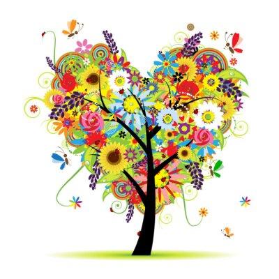 Naklejka Letnie drzewo kwiatowym, kształt serca