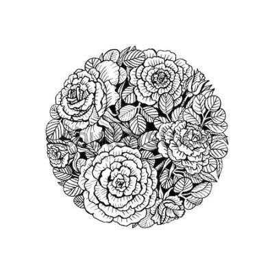 Naklejka Letnie kwiaty w kręgu. Róża. Ilustracji wektorowych.