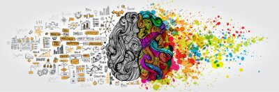 Naklejka Lewy prawy pomysł ludzkiego mózgu. Część twórcza i logika z doodlem społecznym i biznesowym