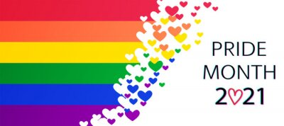Naklejka LGBT Pride Month 2021 concept.  Freedom rainbow flag with hearts.