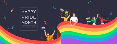 Naklejka LGBTQ people celebrating happy pride month with colorful rainbow flags on banner background