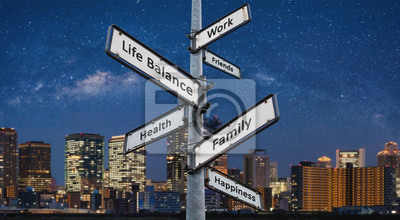 Naklejka Life balance choices on signpost, with city at night backgrounds