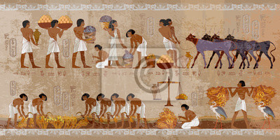 Naklejka Life in ancient Egypt, frescoes. Egyptians history art. Agriculture, workmanship, fishery, farm. Hieroglyphic carvings on exterior walls of an old temple