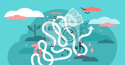 Naklejka Life journey vector illustration. Flat tiny symbolic person destiny concept