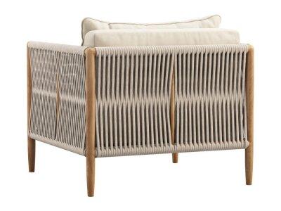 Naklejka Light beige fabric lounge chair with pillow. 3d render
