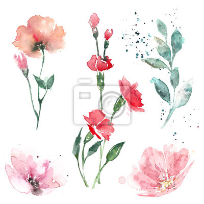 Naklejka Light watercolor illustrations of flowers and leaves in pastel colors.