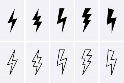 Naklejka Lightning bolt and thunderbolts Icons set