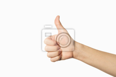 Naklejka like gesture on white background. thumb up