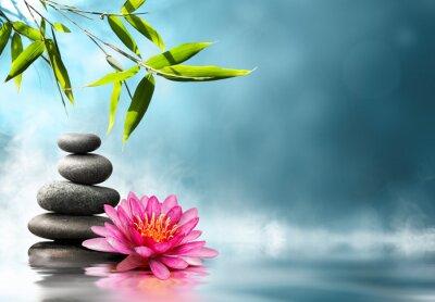 Naklejka lilia z kamieni i bambusa
