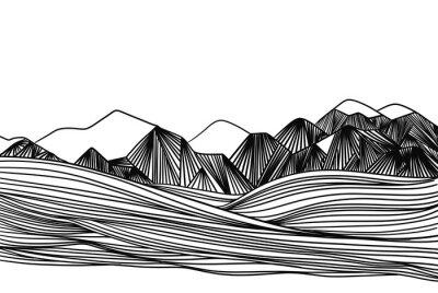 Naklejka Line art mountain landscape illustration