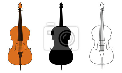 Naklejka Line drawing, black silhouette, and color illustration of violoncello outline classical contour wind musical instrument isolated on a white background. For student education,dictionary musical schools