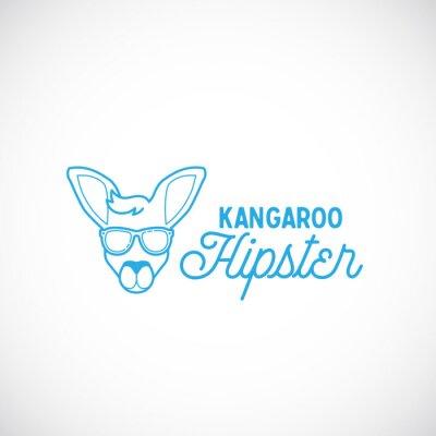 Naklejka Line Style Abstract Vector Kangaroo Hipster Face Logo Template.
