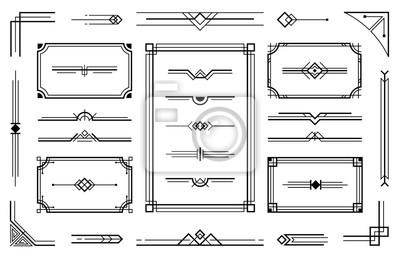 Naklejka Linear geometric Art Deco ornaments. Retro label frame, minimal decorative ornament dividers and ornamental borders vector set. Creative geometric decorative design elements collection
