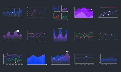 Linear graphcharts. Business graphic charts, line diagrams and business infographics elements vector set. Financial assets analysing. Investment statistics colorful histograms on black background