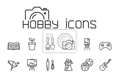Naklejka linia hobby ikony ustaw na białym tle