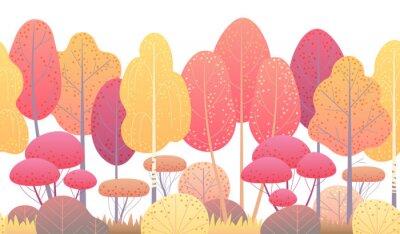 Naklejka Linia pozioma bezszwowe granica z jesiennych drzew i krzewów