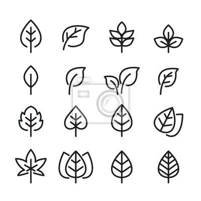 Naklejka Linia zestaw ikon liści