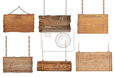 Naklejka liny wiszące drewniane znak wiadomość łańcuch tle