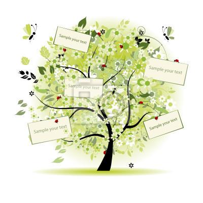 Naklejka Listy drzewa kwiatów z karty do tekstu