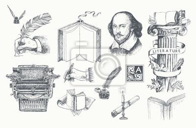 Naklejka Literature hand drawn vector set. Inkwell, writing tools, pens, books, ancient manuscripts, typewriter, antique column. Engraving style