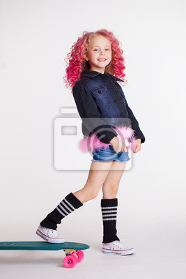 naklejka little hipster girl with colored curly hairstyle