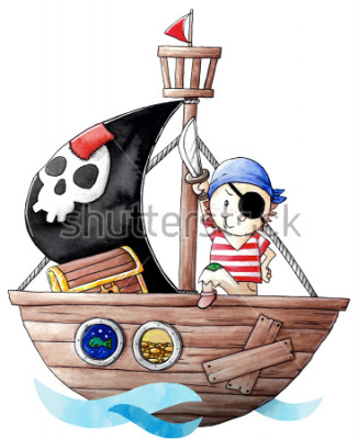 Naklejka Little pirate boy with his ship
