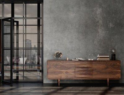 Naklejka Living room interior in loft, industrial style, 3d render