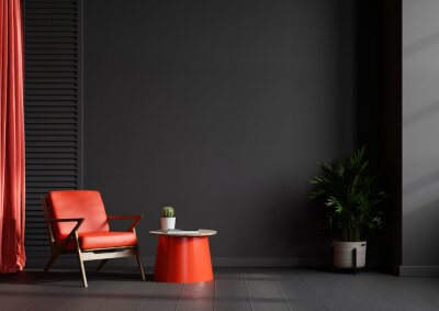 Naklejka Living room interior wall mockup in black tones with red leather armchair on dark wall background.