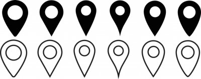 Naklejka Location pin icon. Map pin place marker. Location icon. Map marker pointer icon set. GPS location symbol collection. Flat style - stock vector.