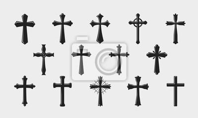 Naklejka Logo krzyża. Religia, ukrzyżowanie, kościół, ikona średniowiecznego herbu lub symbol. Ilustracji wektorowych