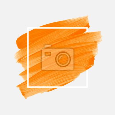 Naklejka Logo szczotka malowane akwarela streszczenie tło wektor ilustracja na ramie kwadratowych. Doskonały malowany wzór na nagłówek, logo i baner sprzedaży.