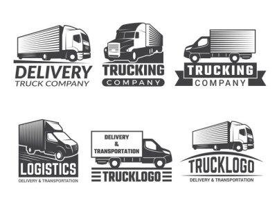 Naklejka Logo transportu. Sylwetka ciężarówki różnych emblematów o tematyce logistycznej. Wektor logo firmy izolować. Transport samochodowy logo firmy, godło i symbol transportu ładunku ilustracja
