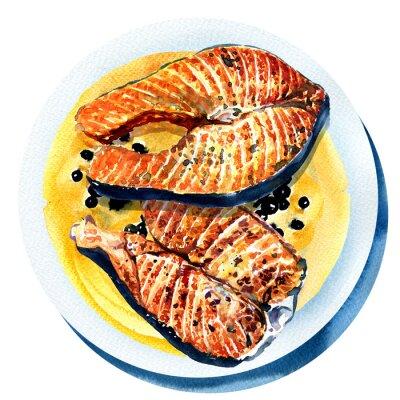 Naklejka łosoś z czarnym pieprzem, smażone ryby na białym talerzu