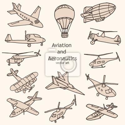 Lotnictwo i Aeronautyka wektor zestaw