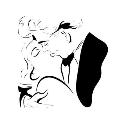 Naklejka Loving para którzy s'embrasse w ustach