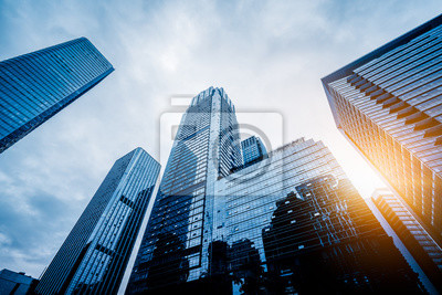 Naklejka low angle view of skyscrapers in city of China.