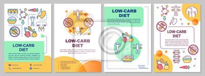 Naklejka Low carb diet brochure template. Ketogenic nutrition. Flyer, booklet, leaflet print, cover design with linear illustrations. Vector page layouts for magazines, annual reports, advertising posters