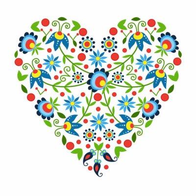 Naklejka Ludowe serce z Kaszub
