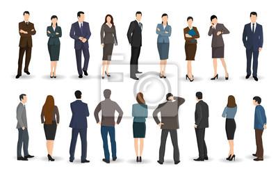 Naklejka Ludzie biznesu i kobiety stoją twarzą do siebie lub z tyłu
