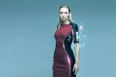 Naklejka Ludzie, przysz? Ych technologii i koncepcji nauki - pi? Kna kobieta futurystyczny z wirtualnej projekcji na szarym tle