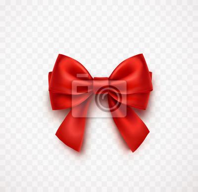 Naklejka Łuk na przezroczystym tle. Wektor czerwona wstążka satynowa Boże Narodzenie z cienia, szablon elementu xmas zawijania.