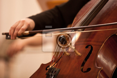 Naklejka Łuk na struny wiolonczeli zbliżenie