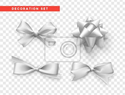 Naklejka Łuki białego realistycznego projektu. Izolowane łuki prezent z wstążkami.