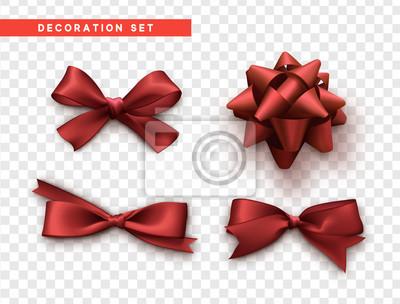 Naklejka Łuki czerwony realistyczny wzór. Izolowane łuki prezent z wstążkami.