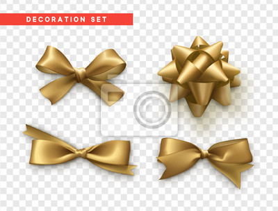 Naklejka Łuki złoty projekt realistyczny. Izolowane łuki prezent z wstążkami.